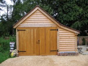 Oak framed 1 bay garage project by Shires Oak Buildings