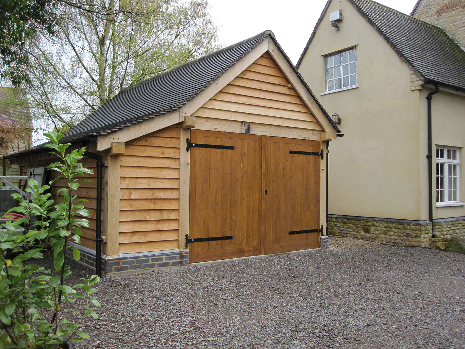 Oak framed 1 bay garage project by Shires Oak Buildings