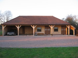 Oak framed 4 bay garage project by Shires Oak Buildings