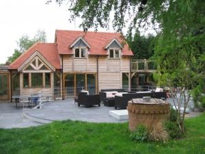 Oak framed home extension by Shires Oak Buildings