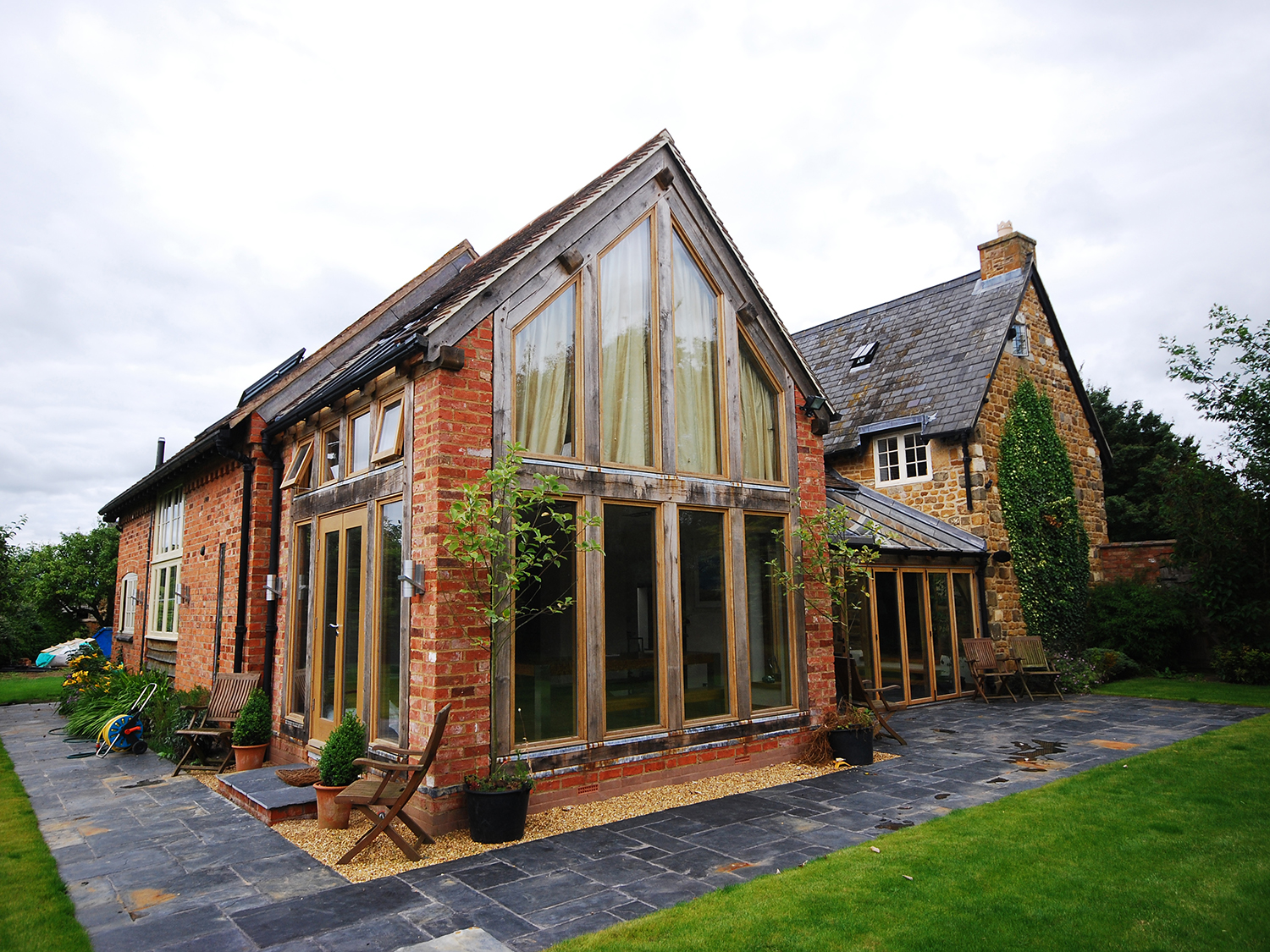 Oak framed home extension project by Shires Oak Buildings
