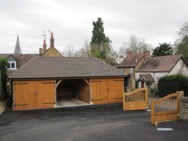 Oak framed 3 bay garage project by Shires Oak Buildings