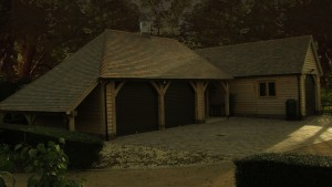 Oak framed garage by Shires Oak Buildings
