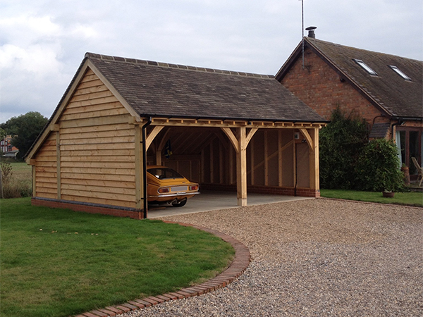 Oak framed 2 bay garage project by Shires Oak Buildings