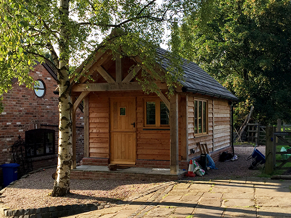 Oak framed garage and office project by Shires Oak Buildings
