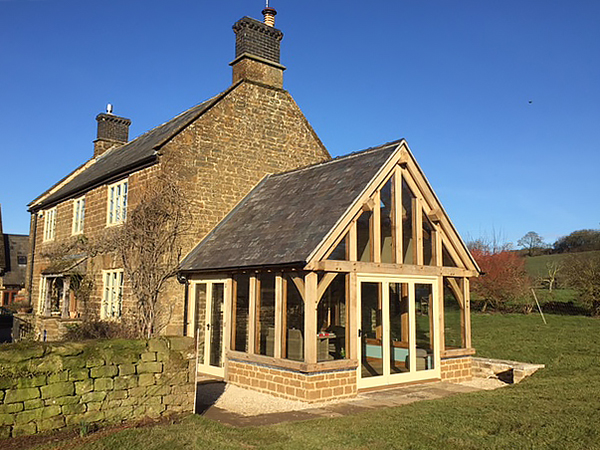 Oak framed garden room project by Shires Oak Buildings