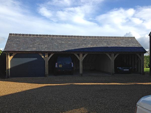 Oak framed 4 bay garage project by Shires Oak Buildings