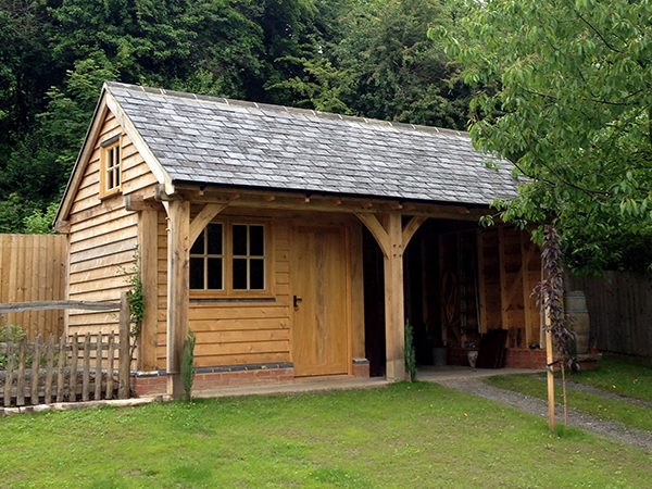 Oak framed office and store room project by Shires Oak Buildings
