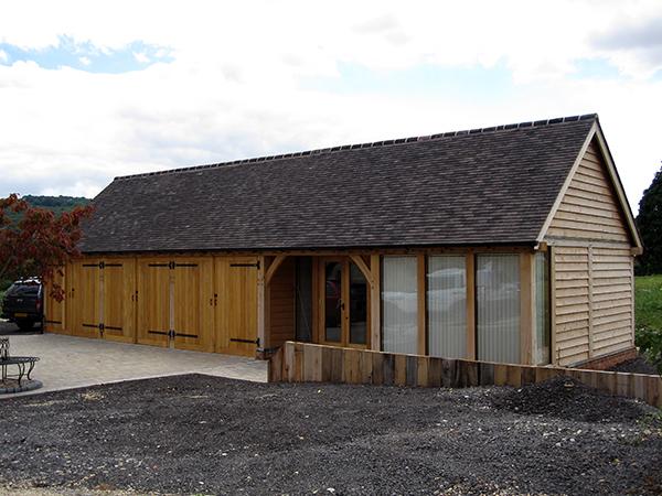 Oak framed office & store project by Shires Oak Buildings