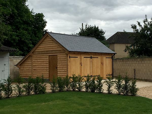 Oak framed 2 bay garage project by Shires Oak Buildings
