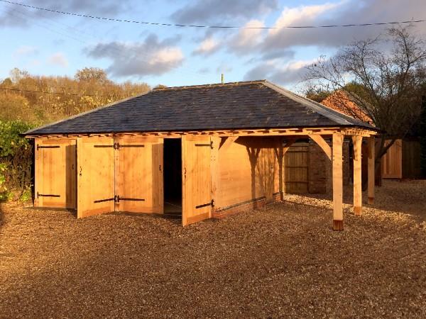 Oak framed 3 bay garage project by Shires Oak Buildings