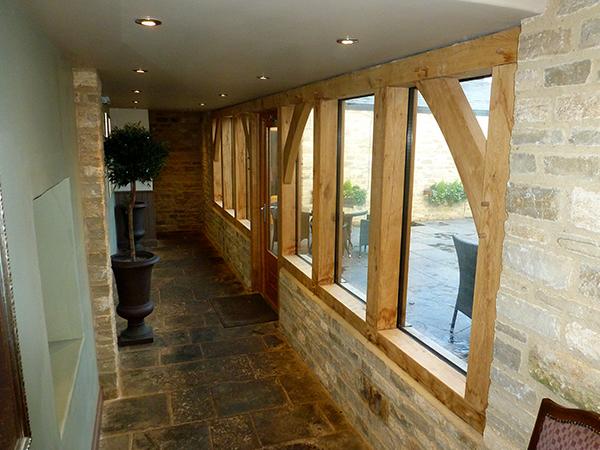 Oak framed walkway project by Shires Oak Buildings