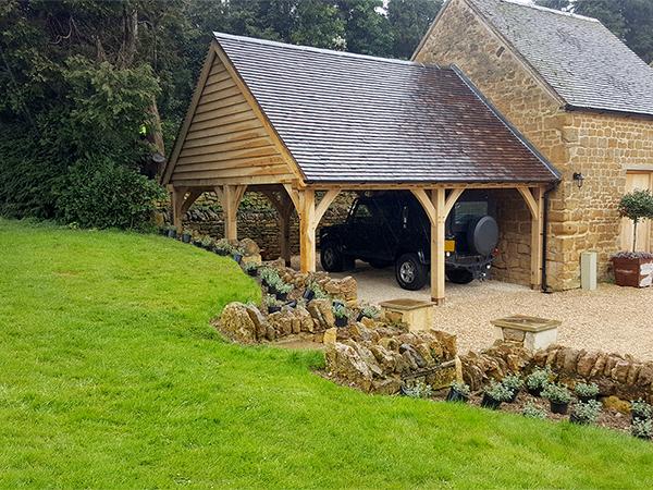 Oak framed carport project by Shires Oak Buildings
