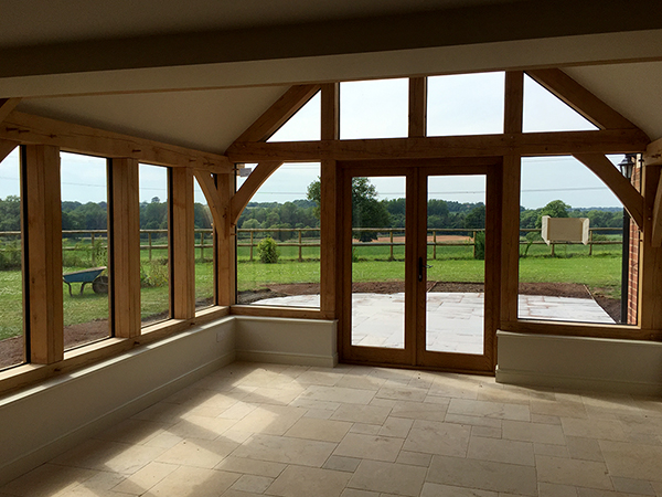 Oak framed garden room interior by Shires Oak Buildings