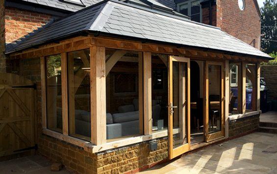 Oak framed orangery by Shires Oak Buildings