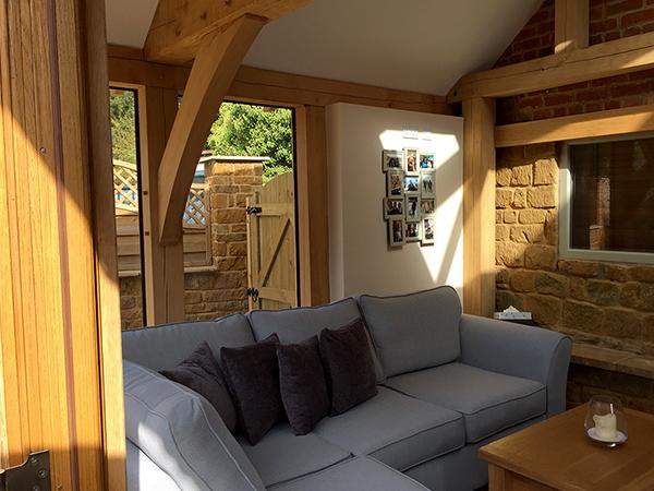 Oak framed orangery interior by Shires Oak Buildings