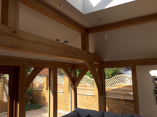 Oak framed orangery, interior detail, by Shires Oak Buildings