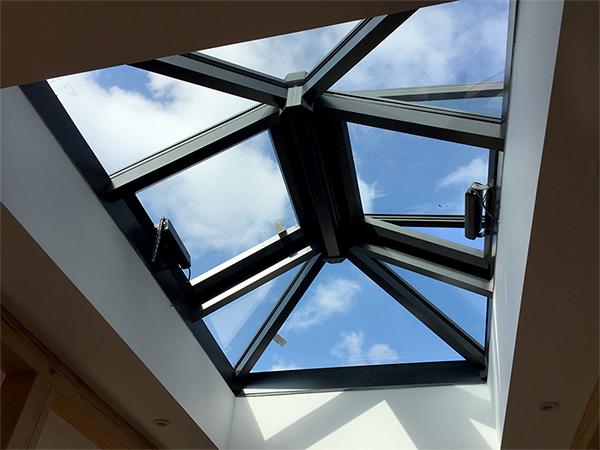 Oak framed orangery, rooflight detail, by Shires Oak Buildings