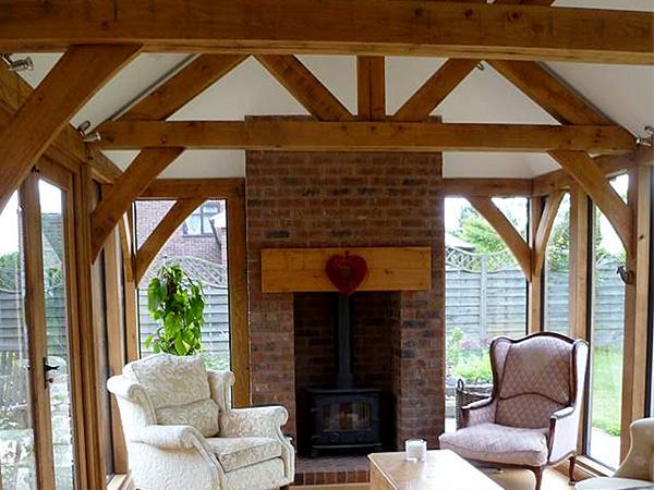 Oak framed garden room project, interior, by Shires Oak Buildings