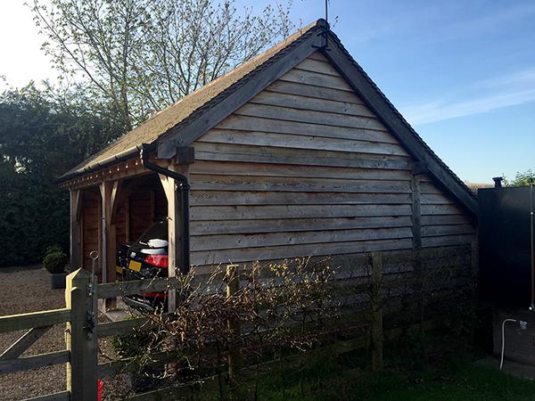 Oak framed 2 bay garage, standard gable, by Shires Oak Buildings