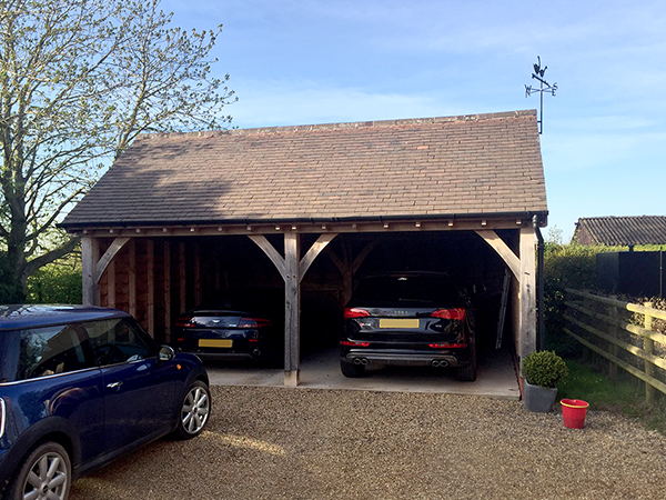Oak framed 2 bay garage, standard gable, by Shires Oak Buildings
