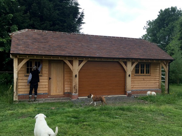 Oak framed 3 Bay garage and store by Shires Oak Buildings