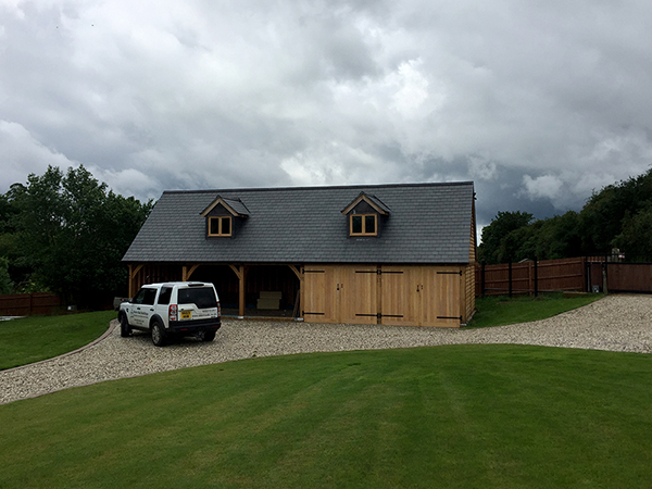 Oak framed 5 bay garage project by Shires Oak Buildings