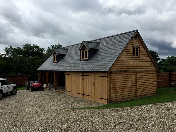 Oak framed 5 bay garage project by Shires Oak Buildings