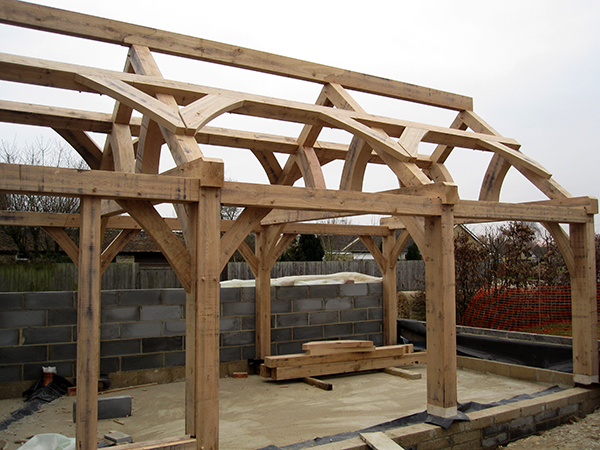 Oak framed extension project by Shires Oak Buildings