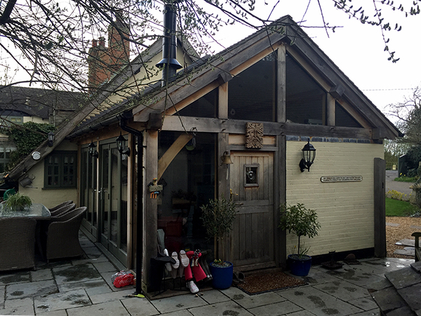 Oak framed garden room extension by Shires Oak Buildings