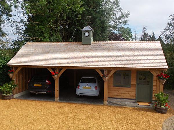 Oak framed 3 bay garage & office by Shires Oak Buildings