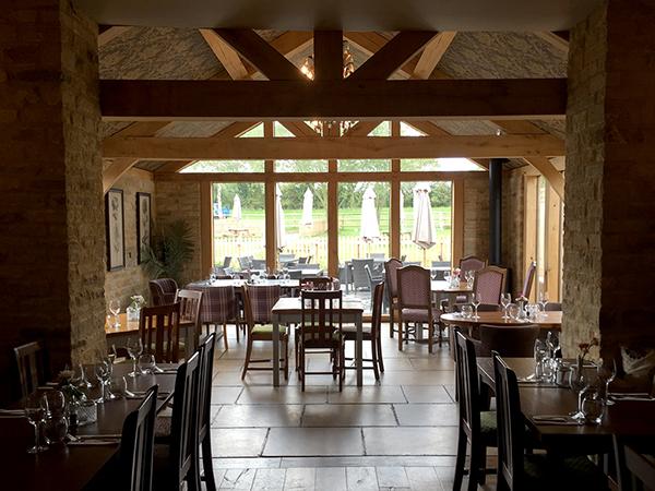 Oak framed garden room, interior detail, by Shires Oak Buildings