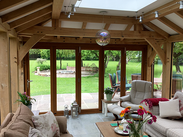 Oak framed orangery interior by Shires Oak Buildings