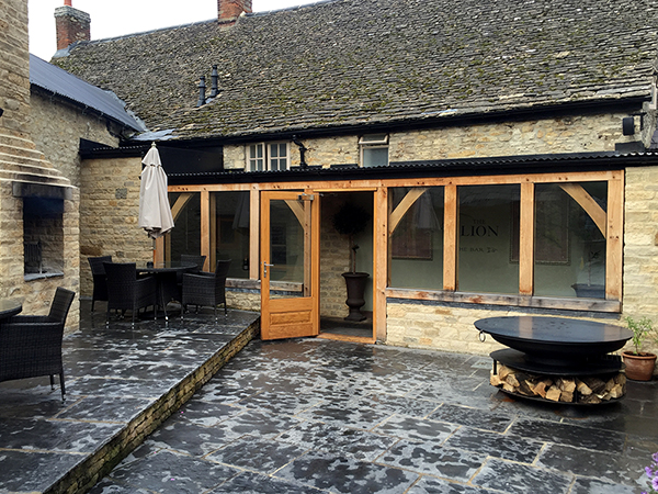Oak framed walkway project by Shires Oak Buildings