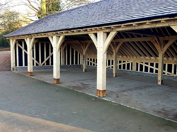 Oak framed 5 bay garage by Shires Oak Buildings