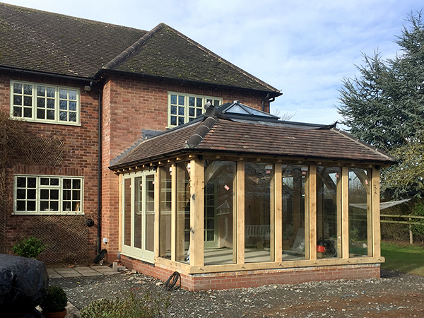Oak framed orangery project by Shires Oak Buildings, after construction