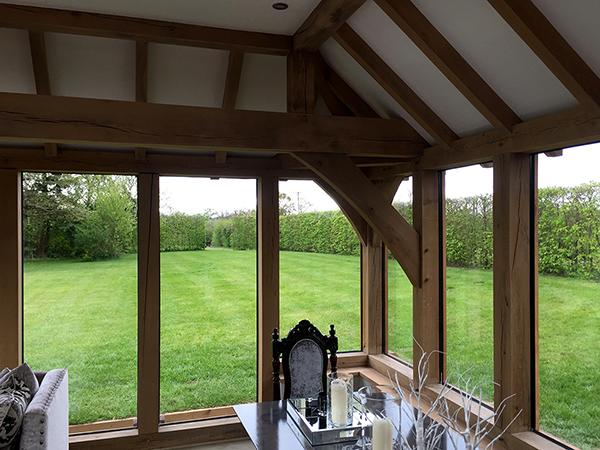 Oak framed orangery, interior, by Shires Oak Buildings