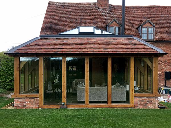 Oak framed orangery project by Shires Oak Buildings