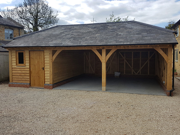 Oak framed 2 bay garage and store by Shires Oak Buildings