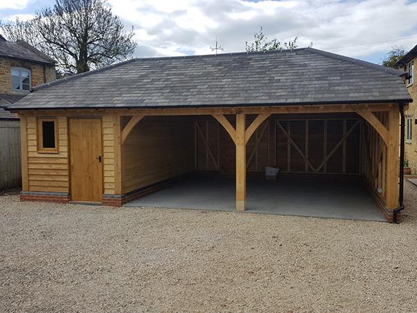 Oak framed 2 bay garage and store by Shires Oak Buildings