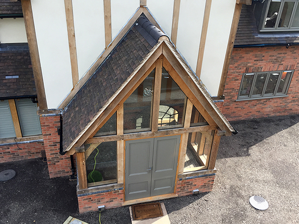 Oak framed glazed porch extension by Shires Oak Buildings