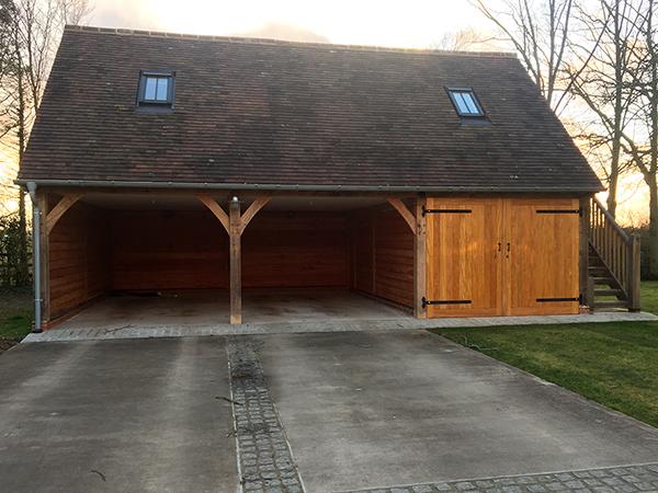 Oak framed 3 Bay Garage with Storage Above by Shires Oak Buildings