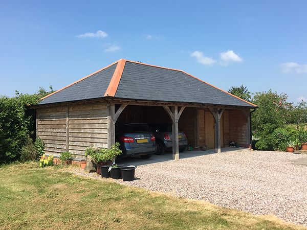 Oak framed 3 bay garage and store, by Shires Oak Buildings
