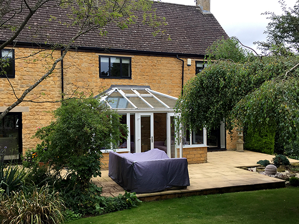 Conservatory to be replaced by Oak Framed Orangery by Shires Oak Buildings
