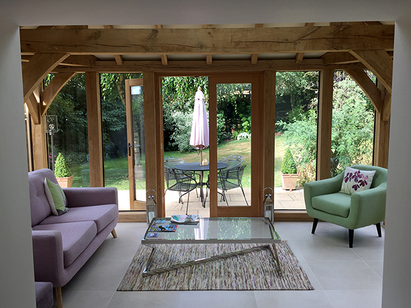 Oak framed orangery, interior view, by Shires Oak Buildings