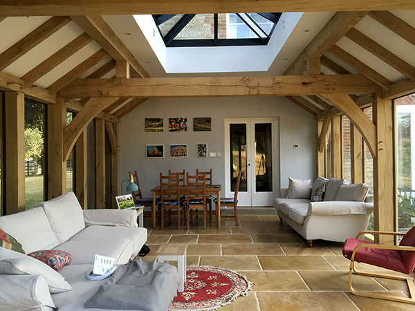 Oak framed orangery, interior view from front elevation, by Shires Oak Buildings