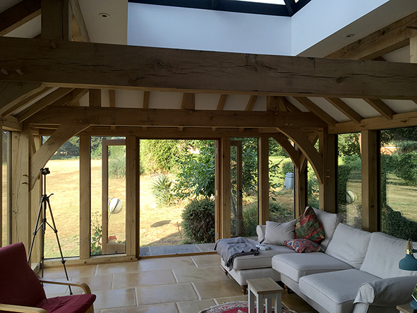 Oak framed orangery, interior view, by Shires Oak Buildings