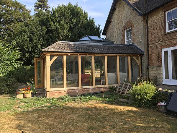 Oak framed orangery, rooflight and side elevation detail, by Shires Oak Buildings