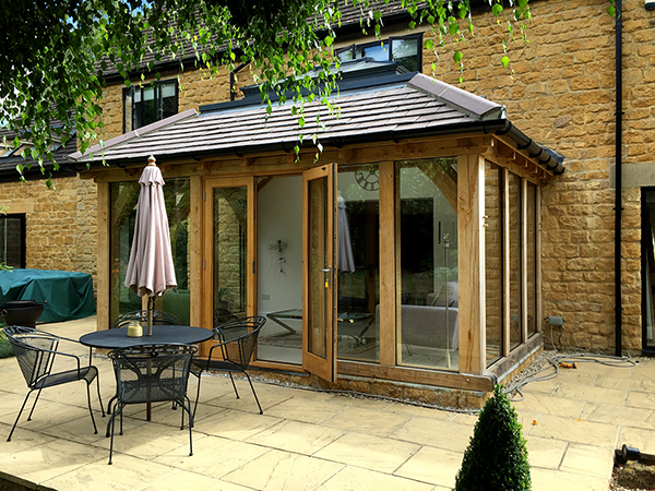 Oak framed orangery with French Doors by Shires Oak Buildings