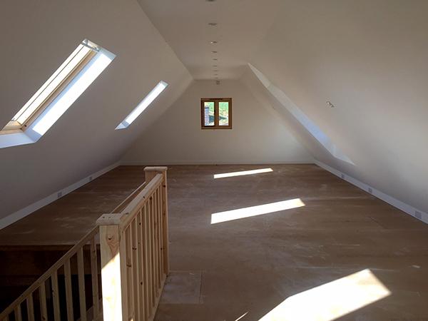 Oak framed 5 bay room over garage, interior view of upper floor, by Shires Oak Buildings